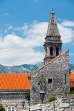 St. Nicholas Church bell tower in Perast Stock Image