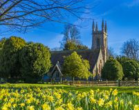 Springtime St Nicholas Church ,Chawton,Hampshire,England. St Nicholas Church ,Chawton near Alton Hampshire. A church has stood on the site in Chawton since at stock photography
