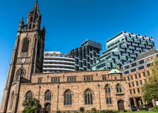 St Nicholas Church. The historic church of Our Lady and St Nicholas in Liverpool contrasting against modern buildings Stock Photos