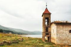 St Nicholas Church, lac Mavrovo, Macédoine Photographie stock