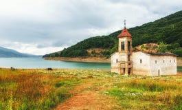 St Nicholas Church, lac Mavrovo, Macédoine Photos stock