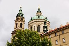 St. nicholas church. Lying at the centre of the lesser town square (malostranske namesti) and is the largest of prague's churches founded by the Jesuits Royalty Free Stock Image