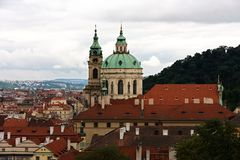 St. nicholas church. Lying at the centre of the lesser town square (malostranske namesti) and is the largest of prague's churches founded by the Jesuits Stock Photo