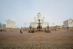St. Nicholas Church and a monument of Alexander II Stock Photo