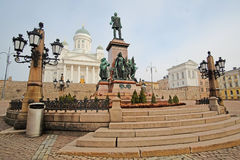 St. Nicholas Church and a monument of Alexander II Stock Images