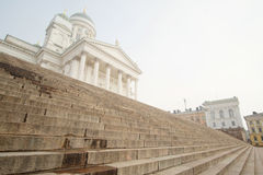St. Nicholas Church and a monument of Alexander II on the Senatorial area in Helsinki, Finland. Royalty Free Stock Images
