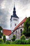 St. Nicholas' Church (Niguliste) and ancient houses. Old city, Tallinn, Estonia Stock Photo