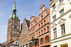 St. Nicholas  Church with old gabled houses. Stralsund, stock photography