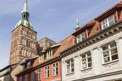 St. Nicholas Church with old houses. Stralsund, Germany stock photos