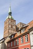 St. Nicholas  Church with old houses. Stralsund, Germany stock photo