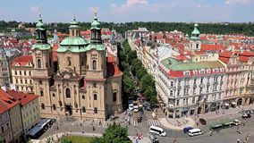 St. Nicholas at Church Old Town Square, Prague stock footage