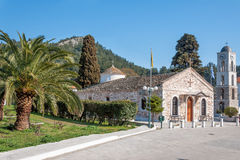 St Nicholas church. Church and palm trees in Thassos island, Greece Royalty Free Stock Photography