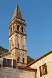 St. Nicholas Church in Perast town Stock Photos