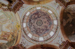 St Nicholas Church Prague Dome Painting. The Church of Saint Nicholas (Czech: Kostel svatého Mikuláše) also called the Saint Nicholas Cathedral (Czech royalty free stock photo