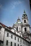 View of a St Nicholas church in Prague stock photo