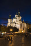 St. Nicholas church in Prague. Night view to the St. Nicholas church on Old Town Square in Prague Royalty Free Stock Photos