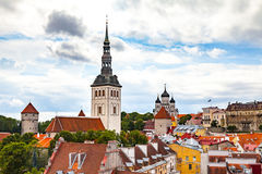 St. Nicholas Church and red roofs in Tallinn, Estonia. Royalty Free Stock Photos