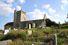 St Nicholas church, Uphill,Somerset. The Norman Old Church of St Nicholas at Uphill,Somerset, England dates from around 1080, It stands on a cliff top Royalty Free Stock Photo
