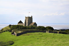 St Nicholas church, Uphill,Somerset. The Old Church of St Nicholas at Uphill, Somerset, England, dates from around 1080 and was built on the site of previous royalty free stock images