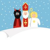 St. Nicholas with devil,angel and blank paper. Cute Christmas invitation, card, wish list. Flat design,  illustration. Royalty Free Stock Photography