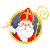 St Nicholas eller Sinterklaas Stående på cirkelbanret - vektorillustration som isoleras på vit bakgrund stock illustrationer