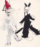 St Nicholas i diabeł - atrament z kleiącą tkaniną (oryginalny dzieciaka pic royalty ilustracja