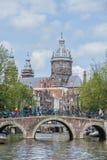 St Nicholas kyrka i Amsterdam, Nederländerna Arkivfoton