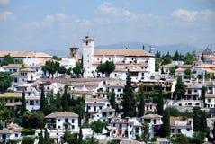 St Nicholas kyrka och Albaicin, Granada fotografering för bildbyråer