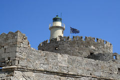 St. Nicholas lighthouse at Rhodes island, Greece Royalty Free Stock Images