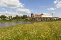 St. Nicholas Monastery, the Kremlin and the river Tura, amid grasses. Verkhoturye. Sverdlovsk region. Russia. Royalty Free Stock Photography