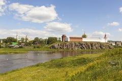 St. Nicholas Monastery, the Kremlin and the river Tura, amid grasses. Verkhoturye. Sverdlovsk region. Russia. Stock Images