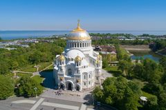 St. Nicholas Naval Cathedral in a city landscape aerial photography. Kronstadt. St. Petersburg stock image