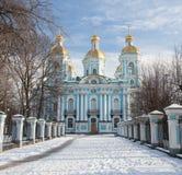 St. Nicholas Naval Cathedral im Winter St Petersburg Russland Lizenzfreies Stockfoto