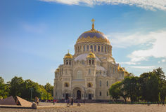 St. Nicholas naval Cathedral in Kronstadt. KRONSTADT, RUSSIA - AUGUST 23, 2014: St. Nicholas naval Cathedral. In the center is a military naval Cathedral, funds Stock Images