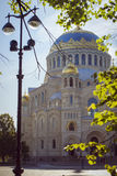 St. Nicholas naval Cathedral in Kronstadt. KRONSTADT, RUSSIA - AUGUST 23, 2014: St. Nicholas naval Cathedral. In the center is a military naval Cathedral, funds Royalty Free Stock Photography