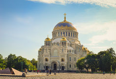St. Nicholas naval Cathedral in Kronstadt. KRONSTADT, RUSSIA - AUGUST 23, 2014: St. Nicholas naval Cathedral. In the center is a military naval Cathedral, funds Royalty Free Stock Image