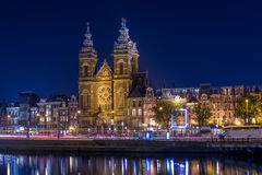 St. Nicholas at night. Night photo of St. Nicholas church in Amsterdam Royalty Free Stock Photography