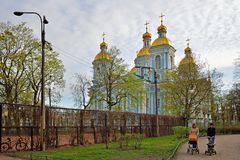 St. Nicholas Park and St. Nicholas naval Cathedral in St. Peters royalty free stock image
