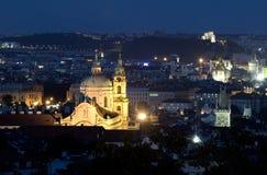 St. Nicholas at Prague at night Stock Photos
