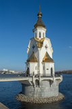 St. Nicholas's Church on water, Kyiv Ukraine. St. Nicholas's Church, Kyiv Ukraine - located on an artificial island reached by a small bridge was built in 2004 Stock Image