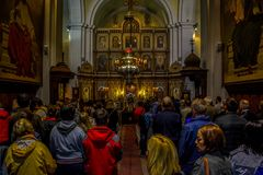St. Nicholas Serbian Orthodox Church on St. Luke`s square at Kotor`s Old Town. June 19, 2016 - Kotor, Montenegro. St. Nicholas Serbian Orthodox Church on St royalty free stock image