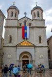 St Nicholas Serbian Orthodox Church no quadrado de St Luke na cidade velha de Kotor fotos de stock