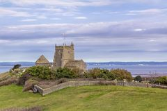 St Nickolas church at Uphill, Somerset. Great view of church overlooking Weston-super-Mare Royalty Free Stock Images