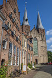 St. Nicolaas church and old houses in Deventer Royalty Free Stock Photography