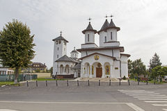 St Nicolae church. From Chiajna, Romania. People after the Sunday church service stock image