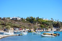 St Nicolas Bay, Agios Nikolaos. Stock Photo