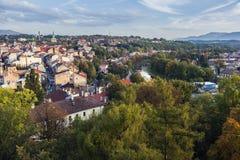 St. Nicolas Chapel in Cieszyn. Panorama of Cieszyn - aerial view. Cieszyn, Slaskie, Poland royalty free stock photo
