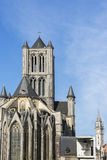St. Nicolas church, bell and postal tower in Ghent, Belgium. Stock Photography