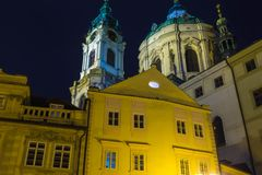 St. Nicolas Church in Mala Strana district of Prague. Czech Republic at night Royalty Free Stock Image