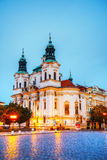 St. Nicolas church at Old Town square in Prague Royalty Free Stock Photo